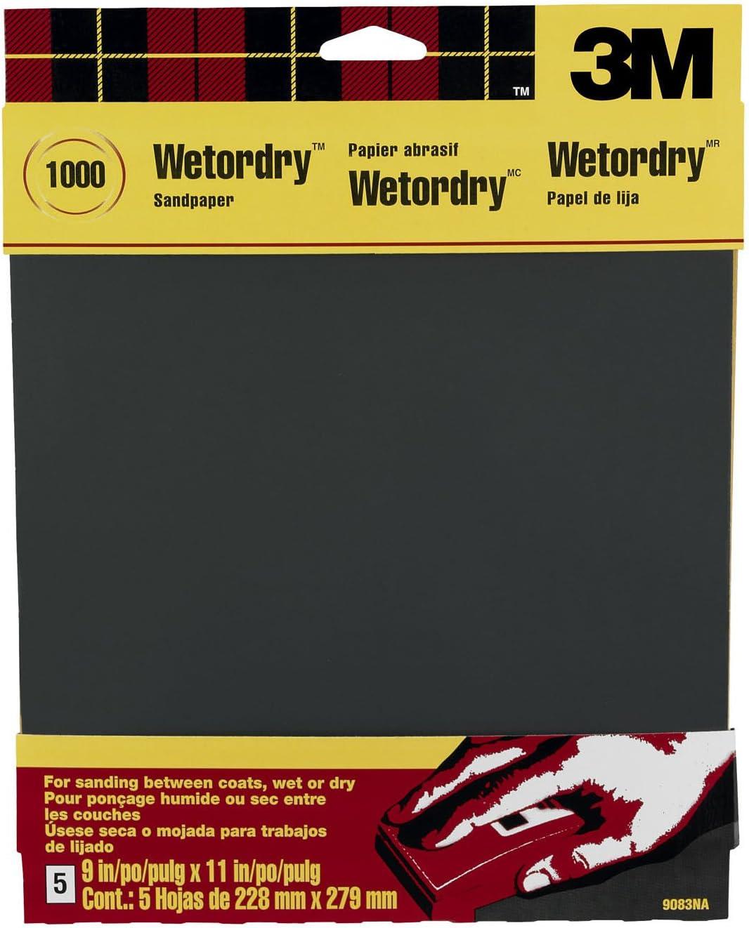 3M Wetordry Sandpaper, 1000-Grit, 9-Inch by 11-Inch, 5 Sheets - 9083NA-20,Black 71u6lkm2xRL