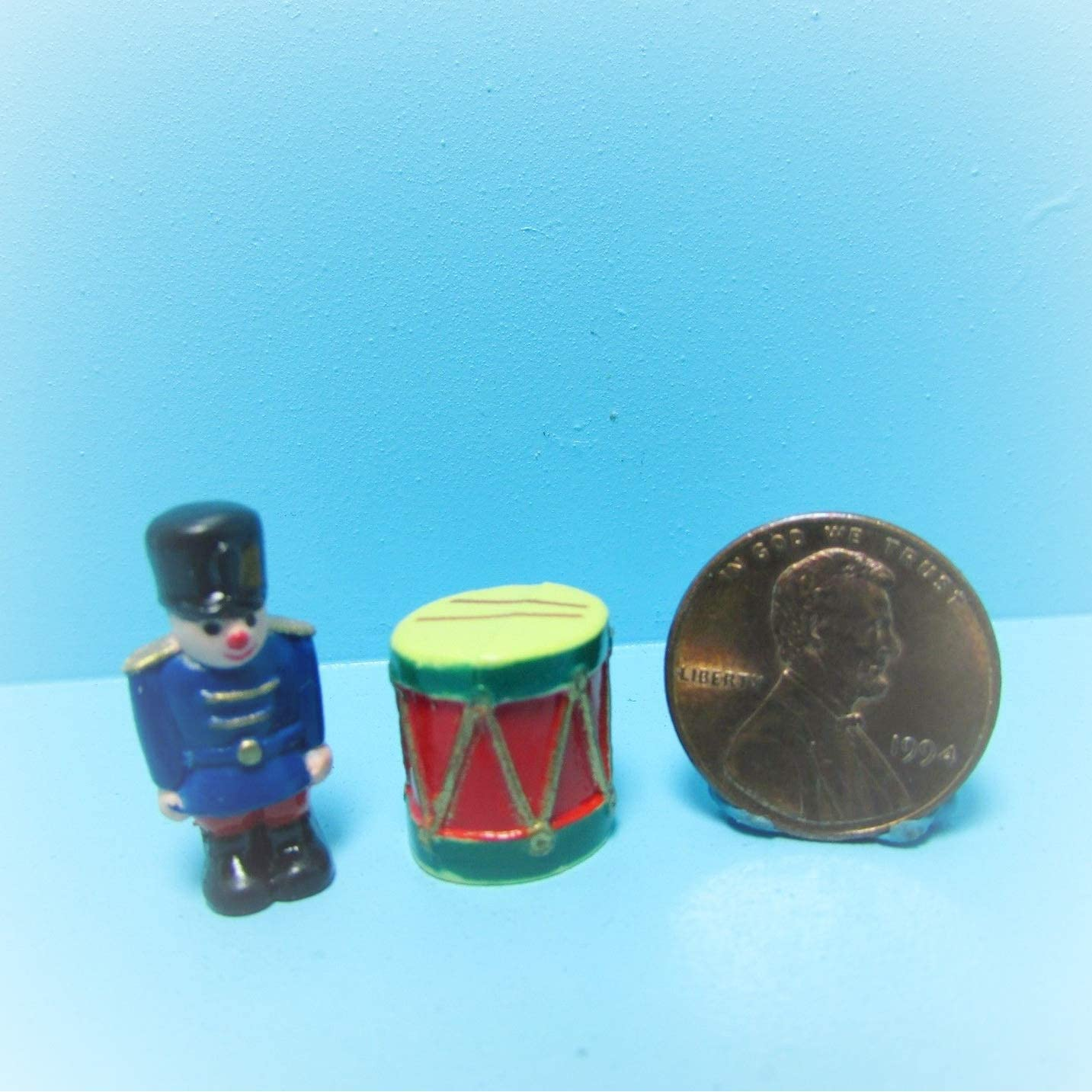 Dollhouse Miniature Toy Soldier with a White Drum