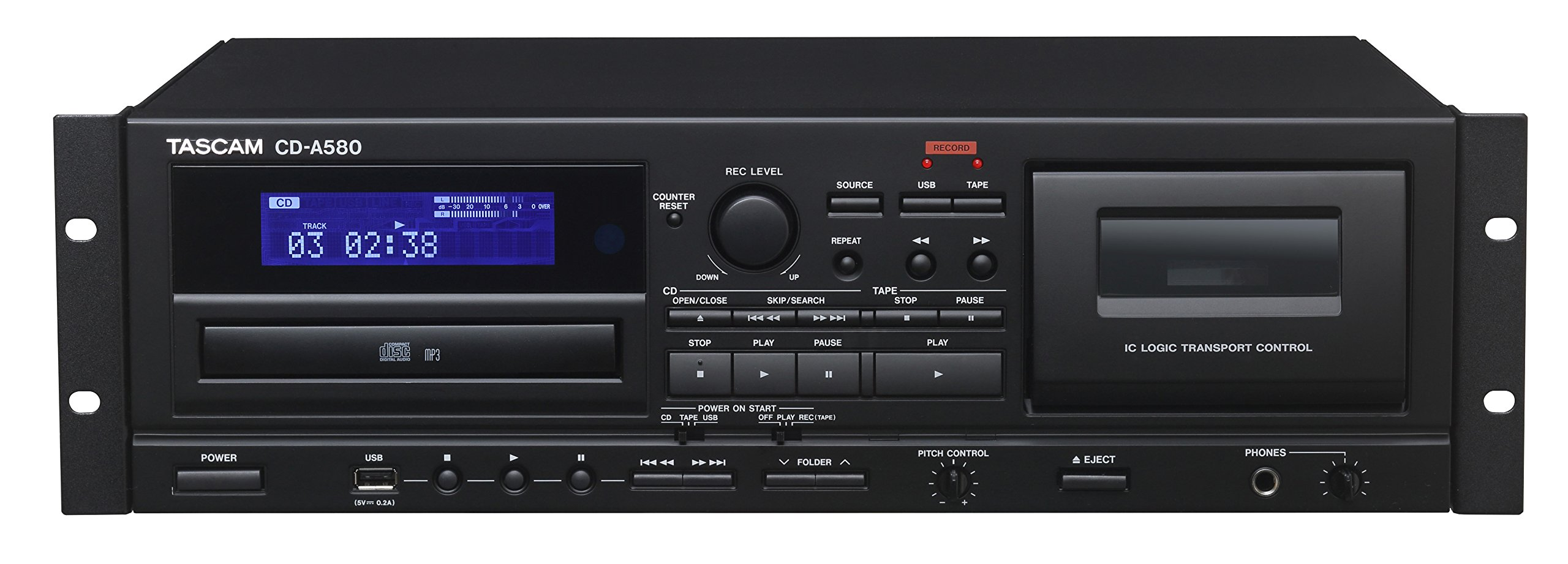 Tascam CD-A580 Cassette/CD/USB MP3 Player Recorder Combo by Tascam (Image #1)