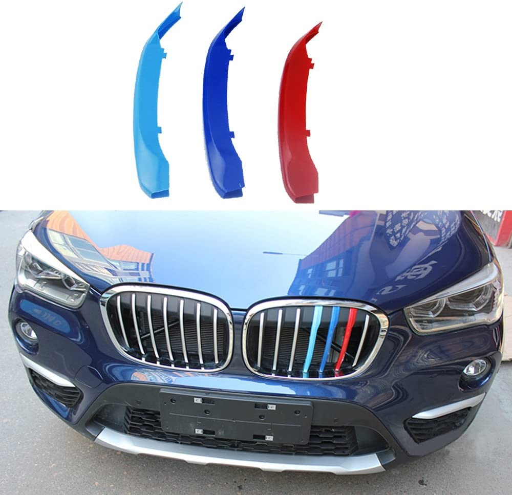 3colors M Styling Front Grille Insert Trim motorsport Strips grill Cover Decoration Stickers for 2016-2017 BMW X1 F48 7 Grilles