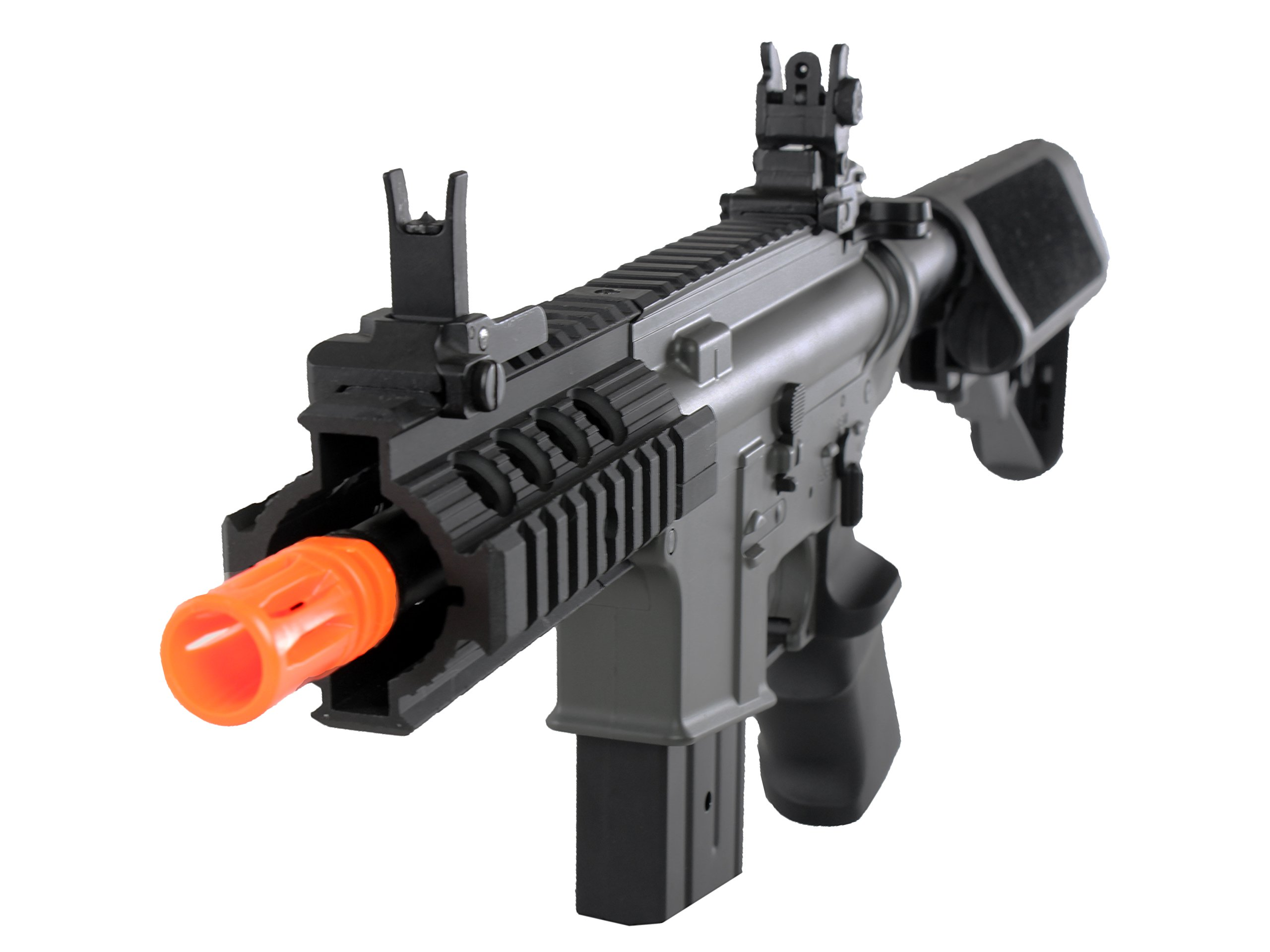 MetalTac Electric Airsoft Gun M4 Stubby CQB JG-F6632 with Rail Mounting System, Metal Gearbox Version 2, Full Auto AEG, Upgraded Powerful Spring 380 Fps with .20g BBs