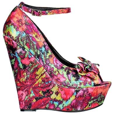 cbf7c14e3ab8 Onlineshoe Women s Peep Toe Platform Shoes Bow and Ankle Strap Satin Wedge  UK3 - EU36 -