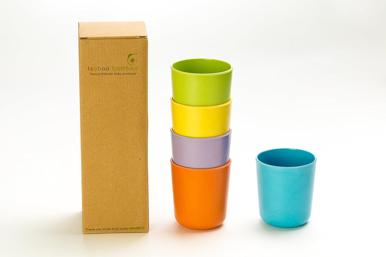 Juego de 5 tazas de bambú biodegradables