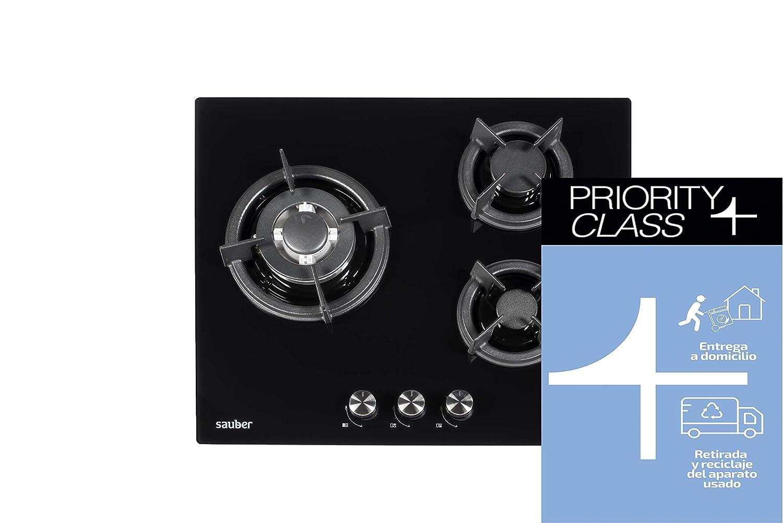 Sauber - Encimera de Cristal Gas SECGB05-3 zonas de cocción ...