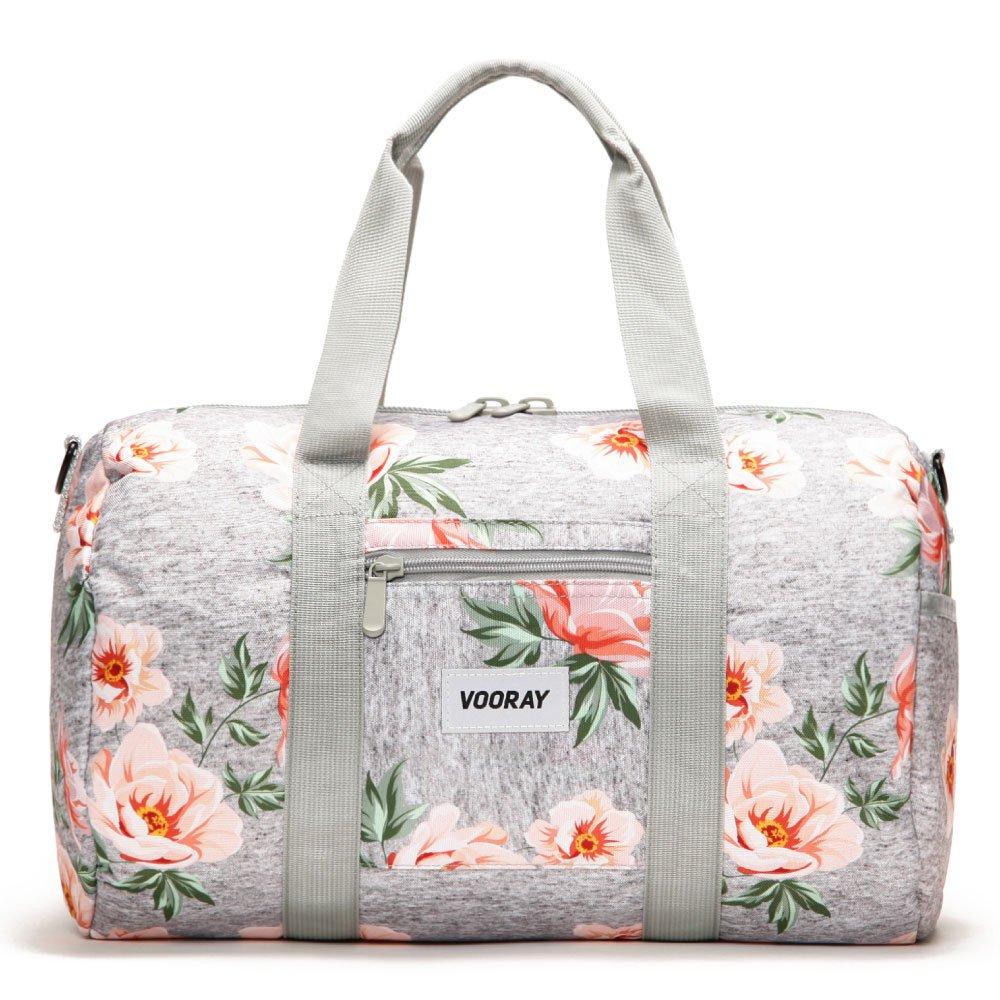 Vooray Roadie 23L Small Gym Duffel Bag, Rose Floral Gray
