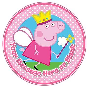 ND3 Peppa Pig princesa hada cumpleaños personalizada redonda decoración para tarta para aprox 19,05