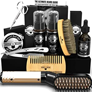 Beard Straightener Grooming Kit, Beard Shampoo, Beard Conditioner, Beard Wash, Beard Brush, Beard Comb, Growth Oil, Beard Balm, Razor & Trimming Scissors, Perfect Gifts for Him, Dad & Husband