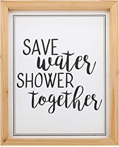 """Barnyard Designs Save Water Shower Together Bathroom Humor Wall Art Sign, Rustic Primitive Country Farmhouse Home Decor Sign with Sayings 16"""" x 12"""""""