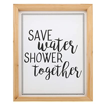 Barnyard Designs Save Water Shower Together Bathroom Humor Wall Art Sign Rustic Primitive Country Farmhouse Home Decor Sign With Sayings 16 X
