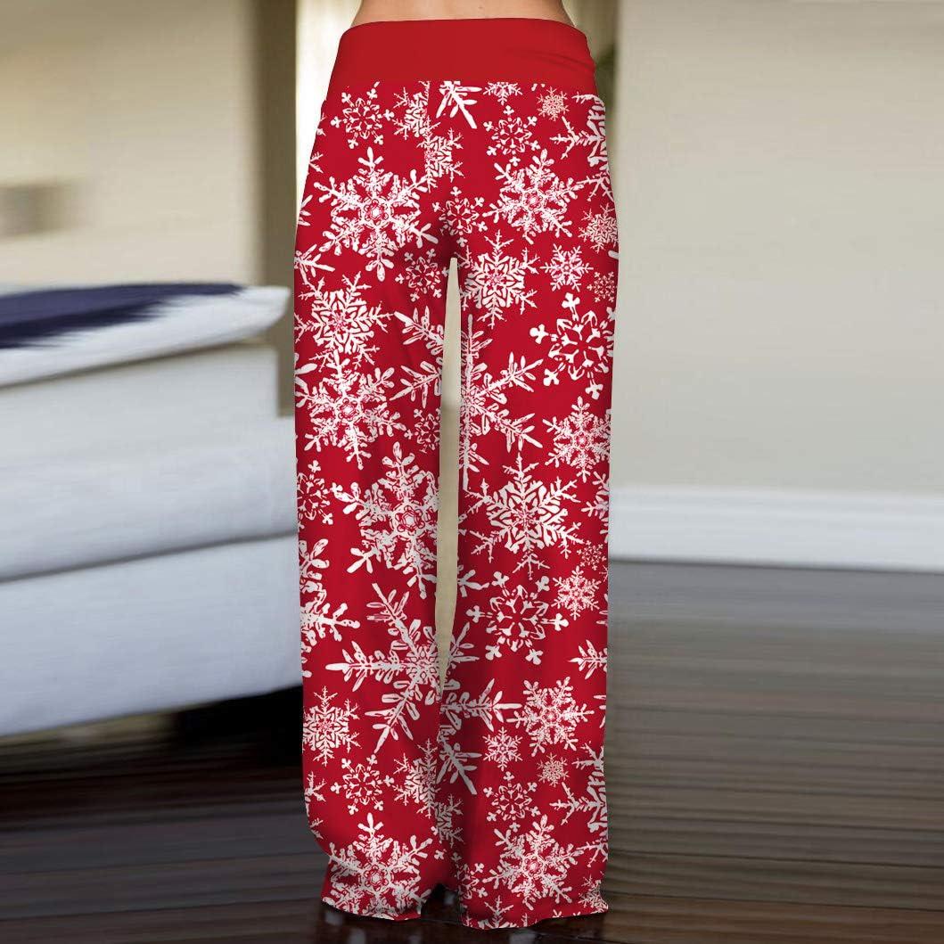 PIZOFF Womens Stretch Christmas Print Wide Leg Lounge Pants