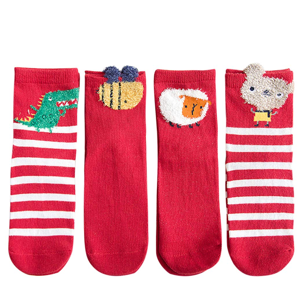 4 Pairs Christmas Socks Breathable Cartoon Crew Socks Cotton Socks for Baby Kids Red by Kapmore
