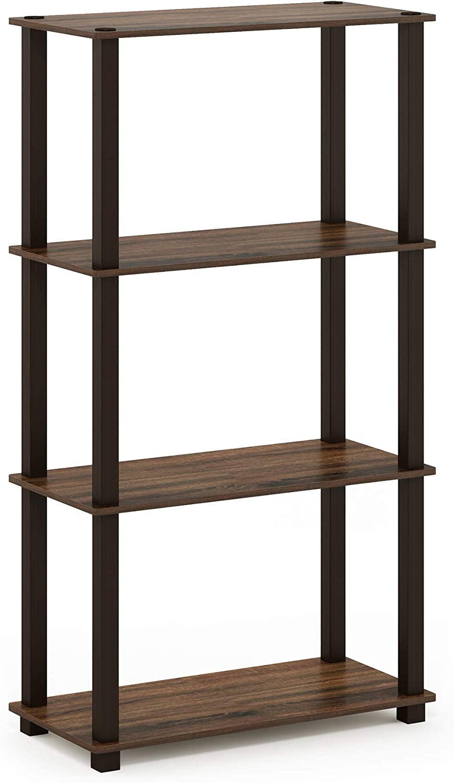 Furinno Turn-S-Tube 4-Tier Multipurpose Shelf Display Rack, Square, Walnut/Brown