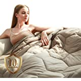 "YEMYHOM 100% Cotton Weighted Blanket Adult Bed Heavy Blankets with Glass Beads (48""x72"" 15 lbs, Stone)"