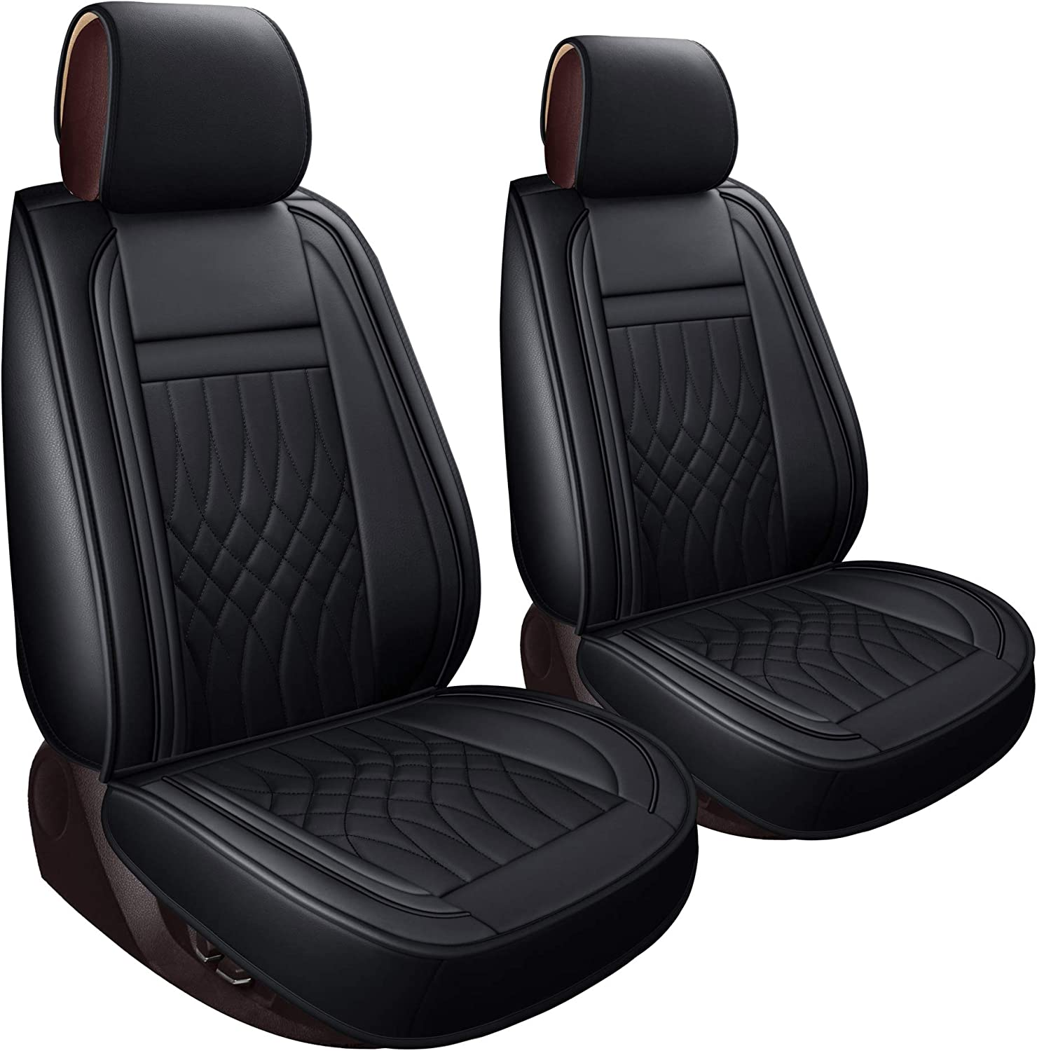 LUCKYMAN CLUB Truck Seat Covers fit for 2009-2020 Ford F150 Crew Cab and 2011-2020 F250 F350 F450 Crew Cab with Waterproof Faux Leather Black /& Blue-Full Set