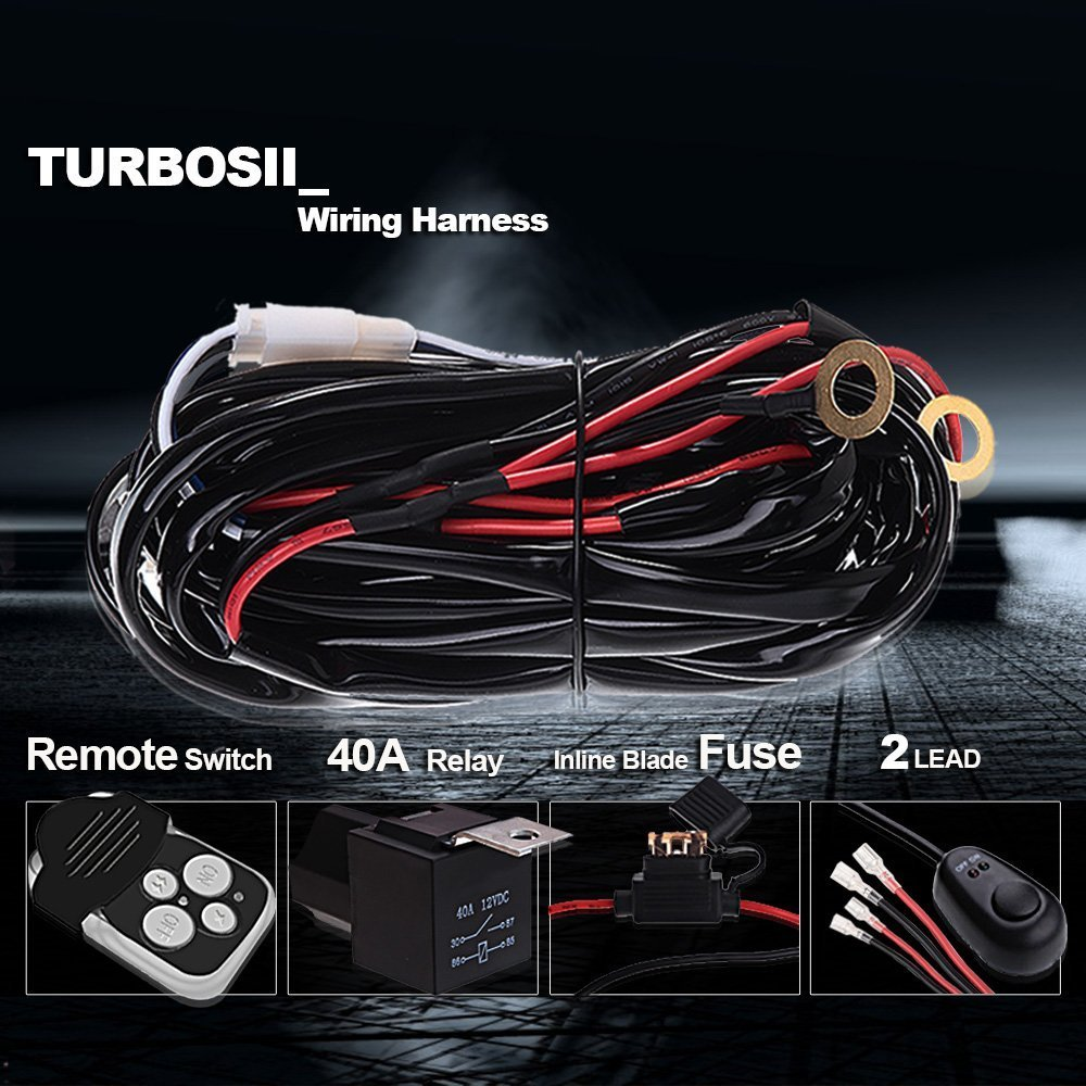 Off Road Led Work Light Bar Wireless Remote Wiring Harness Kit 12v Saab 9 3 Lighting 40 Amp