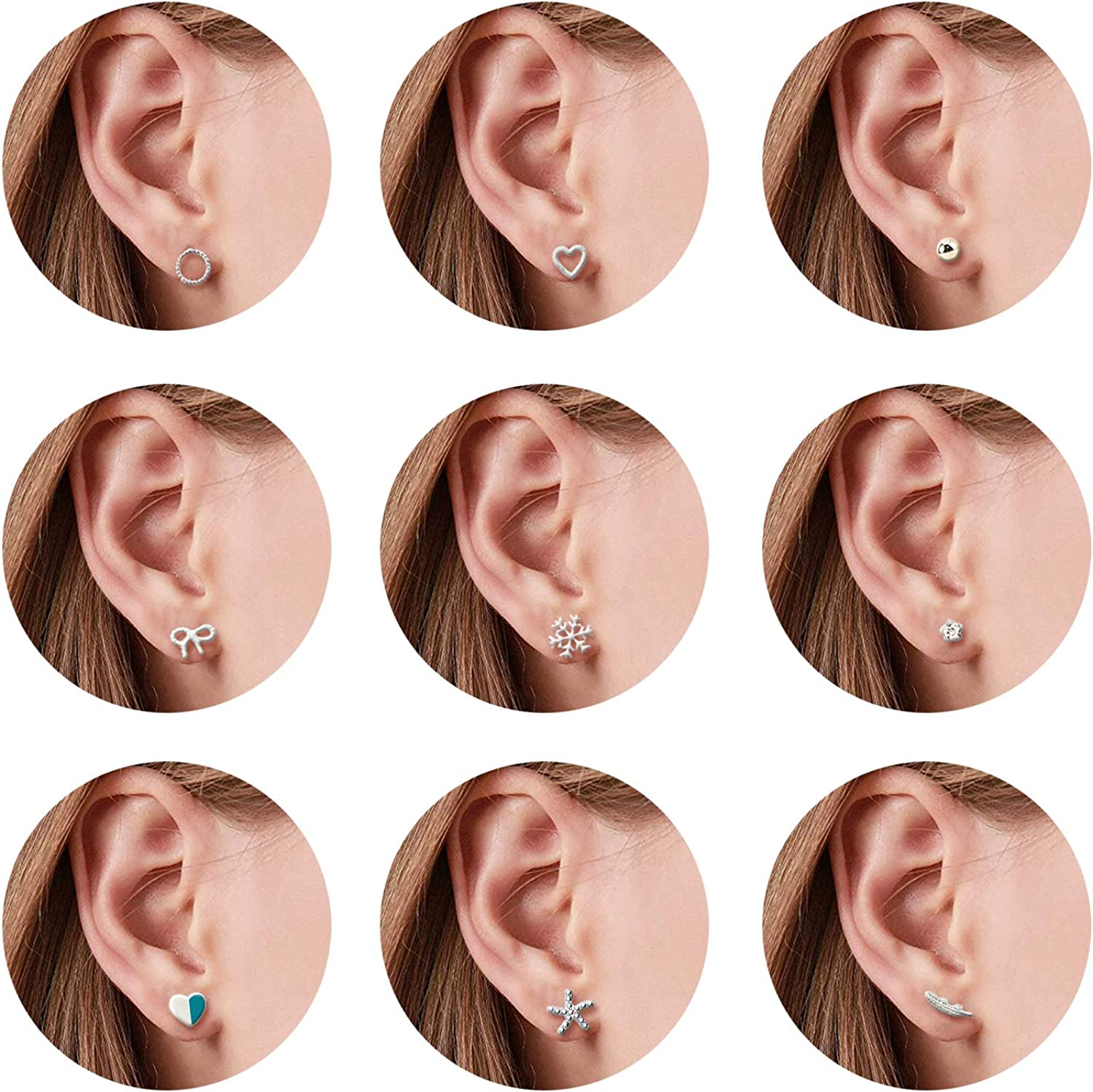 Stud Earrings Set Crystal Pearl Round Circle Heart Cubic Zirconia Geometric Ball Hypoallergenic Earring Set Charm Trendy Piercing Jewelry Gift for Women Girls Teens Lady,30 Pairs