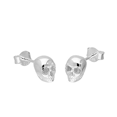 Extra Small/Discreet Skull and Crossbones Sterling Silver Stud Earrings with Black Crystal Eyes MDU4WxU1X