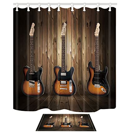 KOTOM Western Decor Three Guitar Musical Instruments Against Wooden Board 69X70in Mildew Resistant Polyester Fabric