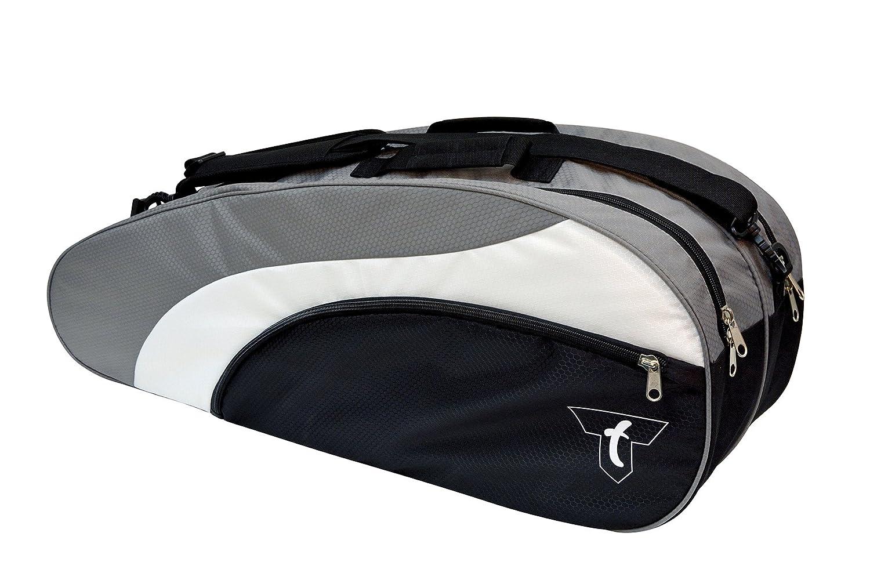 Talbot-Torro Racketbag, Schlägertasche für Badminton, Squash, Tennis, passend für 6-12 Rackets, schwarz-silber, 449216 TAAS5|#Talbot Torro