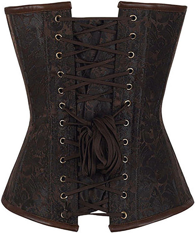r-dessous Hochwertige Corsage Vintage Corsett braun Gothic Bustier Steampunk Top Mieder Schn/ür Korsett