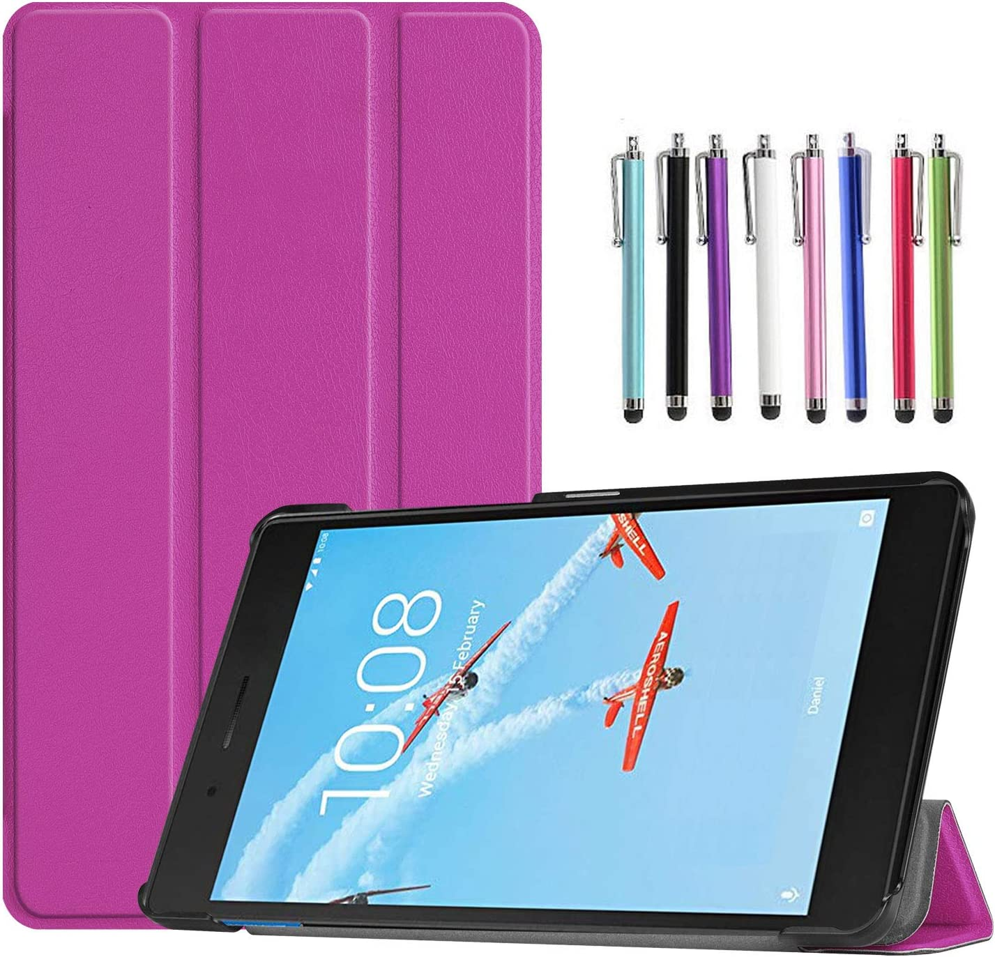Epicgadget Case for Lenovo Tab E8 (TB-8304F), Slim Lightweight Tri fold Stand Cover Case for Lenovo Tablet 2018 Tab E 8 8 Inch Display (Purple)