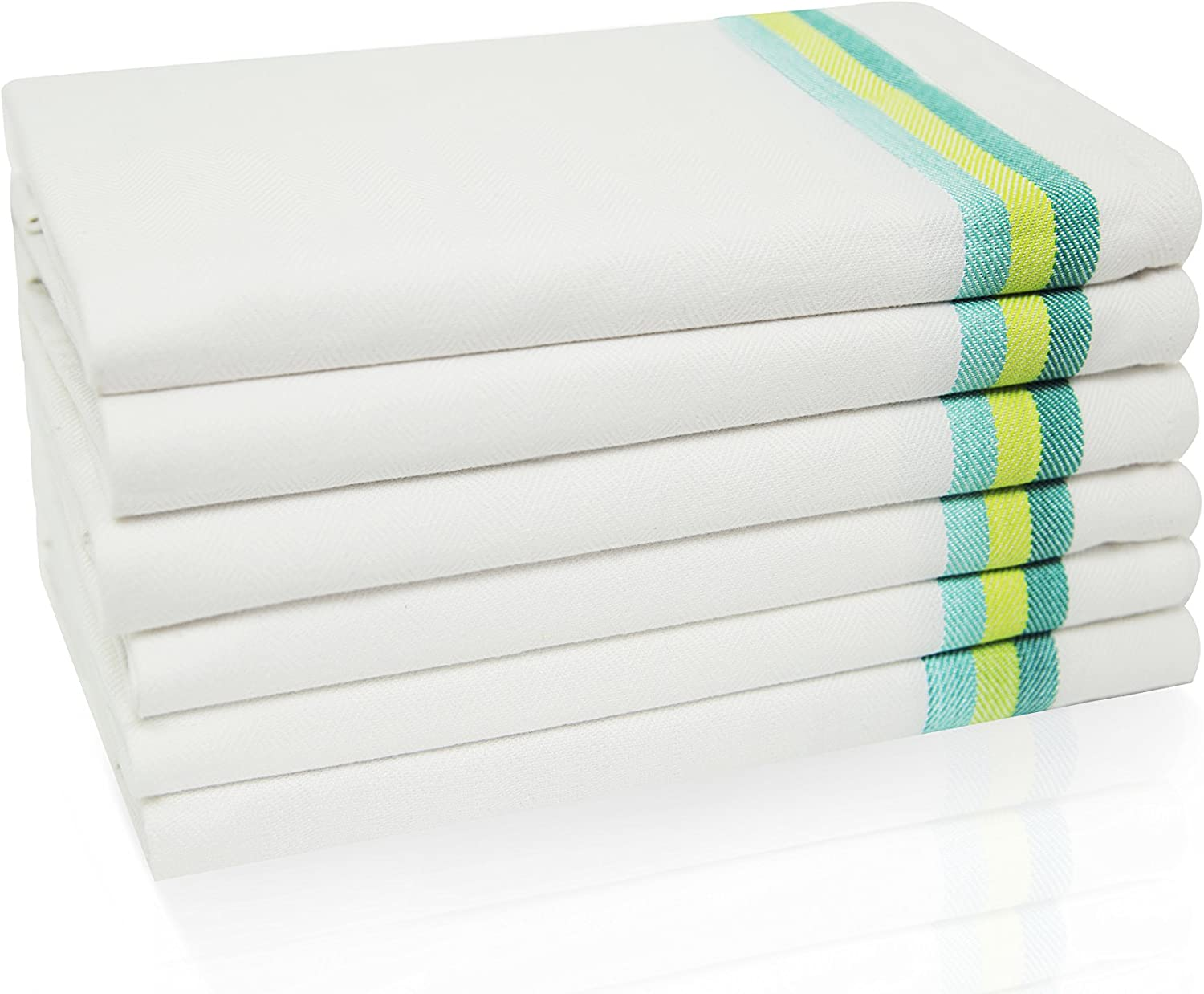 "Harringdons Kitchen Dish Towels Set of 6 - Tea Towels, 100% Cotton. Large Dish Cloths 28""x20"" Soft and Absorbent. White with Green Stripes. Add Beauty to Kitchen Life."