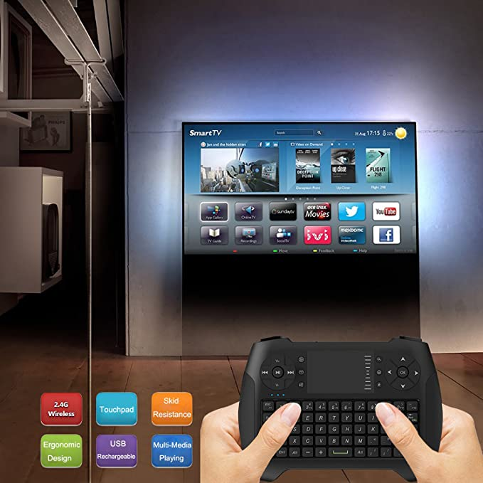 avatto i8g 2.4 G Wireless Mini teclado y ratón con touchpad USB Batería para Smart TV, Android TV Box, IPTV, Raspberry Pi, ordenador portátil PC, PS3 (color negro): Amazon.es: Electrónica