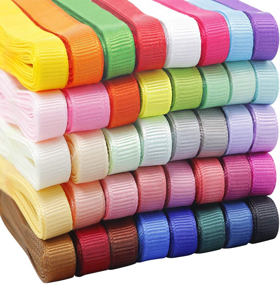"QingHan 3/8"" Solid Grosgrain Ribbon For Gifts Wrapping Crafts Boutique Fabric Ribbons 80yd (40x2yd)"