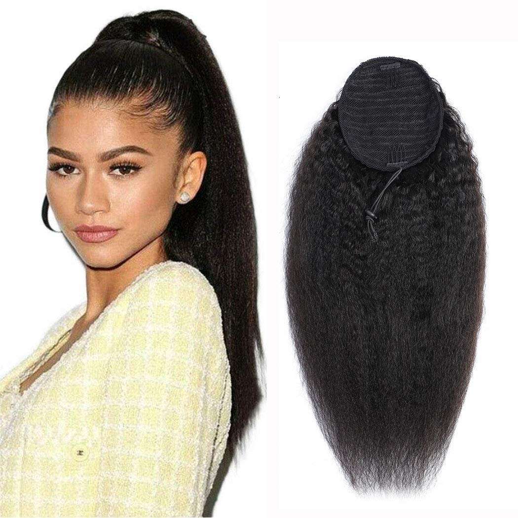 Ponytail Extension Kinky Straight Hair 100% Human Hair Ponytail Drawstring Ponytail Extensions Natural Black 1B for Women Clip in on Ponytail Hair Extensions(18 Inches) by Annora