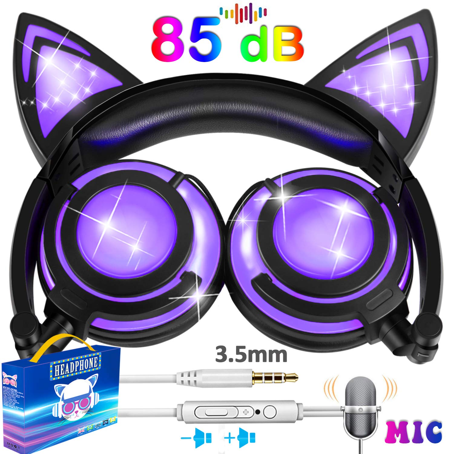 Kids Cat Ear Headphones for Girls Boys Toddler with Mic LED Light 85dB Volume Limit USB Rechargeable Wired Foldable iGeeKid Over/On Ear Headset Phone Tablet Travel School Music Device Gift Purple