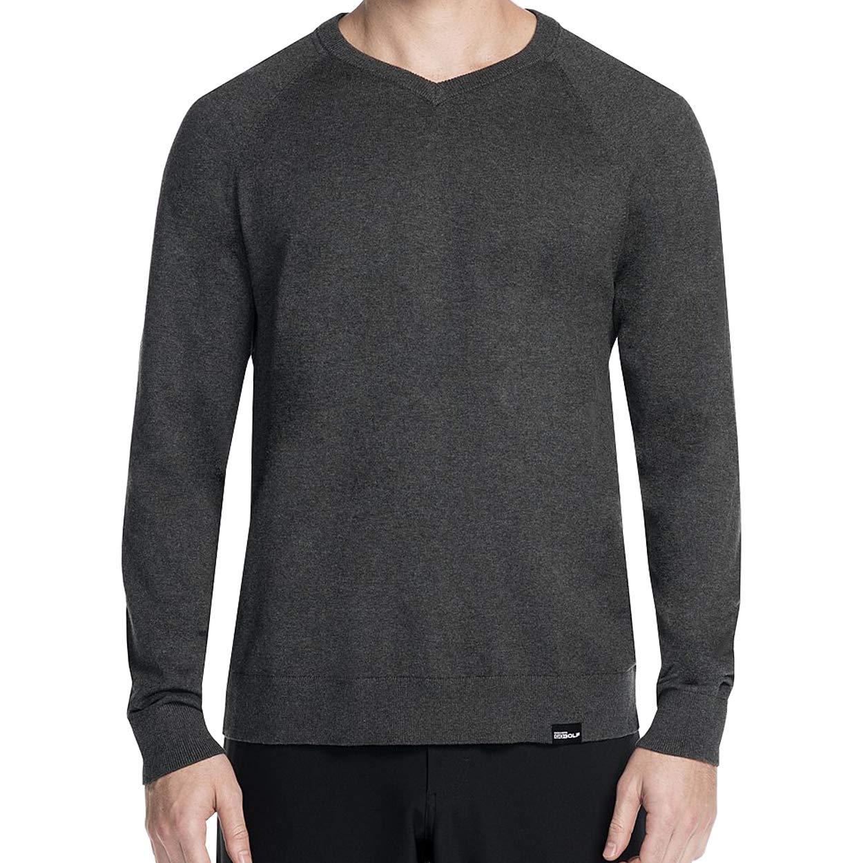 Skechers Golf Men's Fairway Long Sleeve V Neck Cottom Cashmere Sweater Vest, heather charcoal, XXL by Skechers