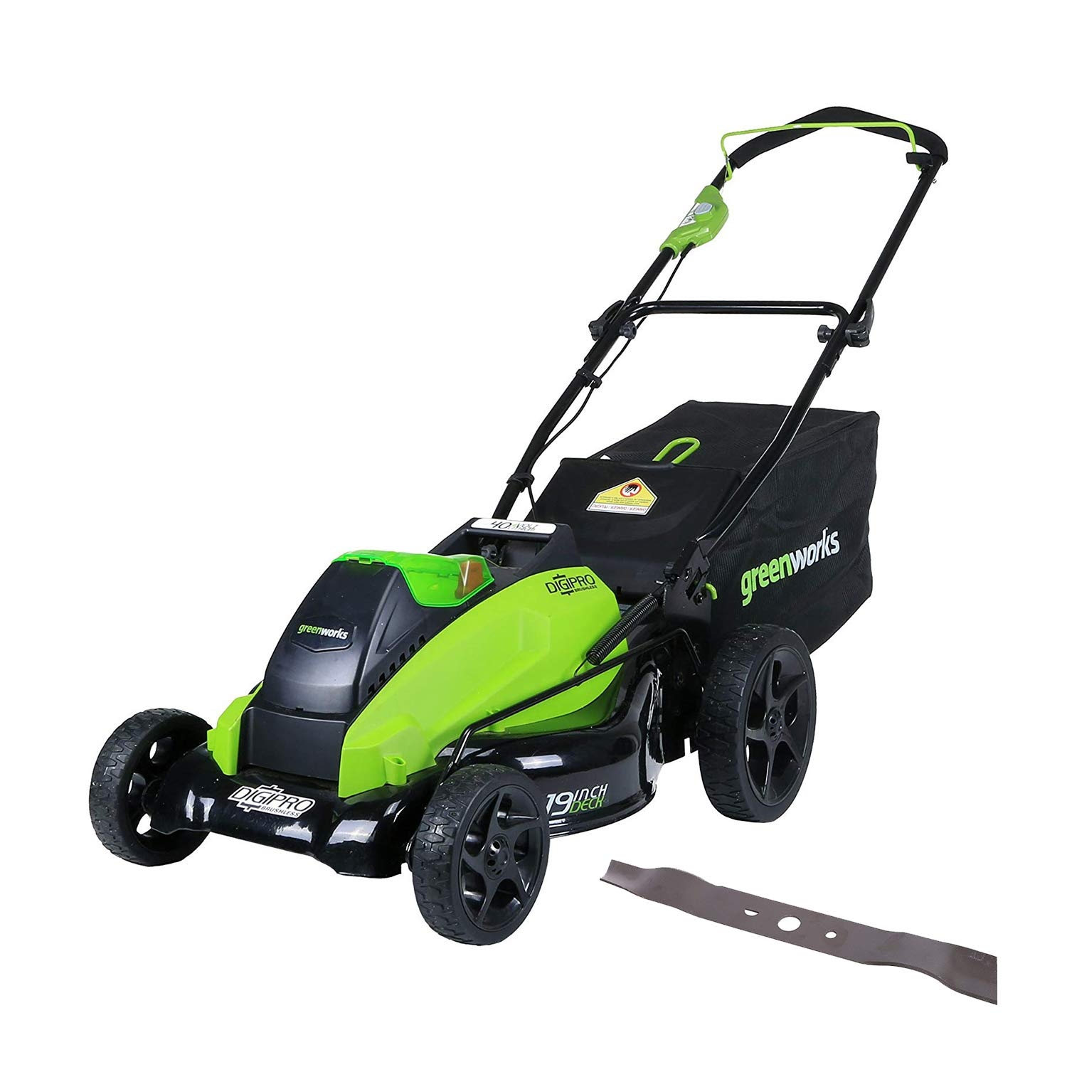 GreenWorks 19-Inch 40V Cordless Lawn Mower Extra Blade, Battery Charger Not Included 2519002AZ