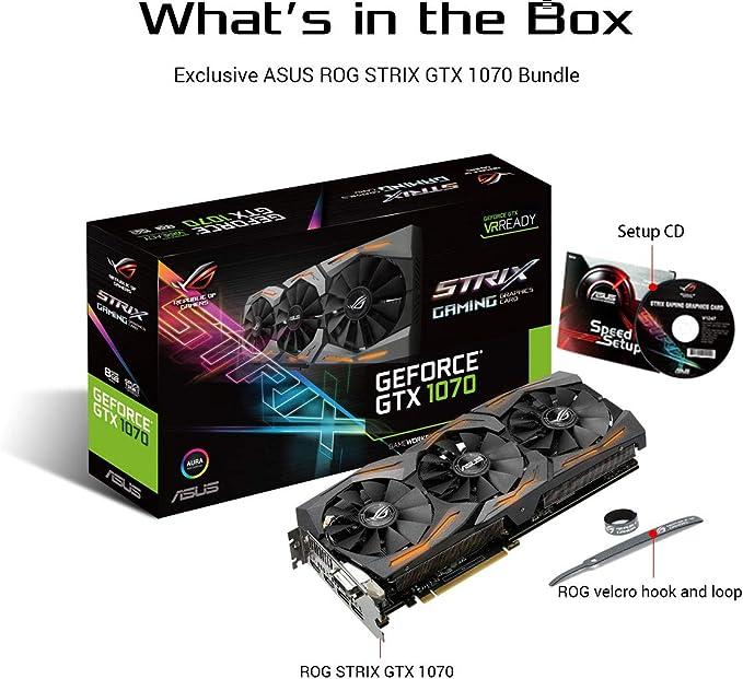 ASUS STRIX-GTX1070-8G-GAMING - Tarjeta gráfica (Strix, NVIDIA ...