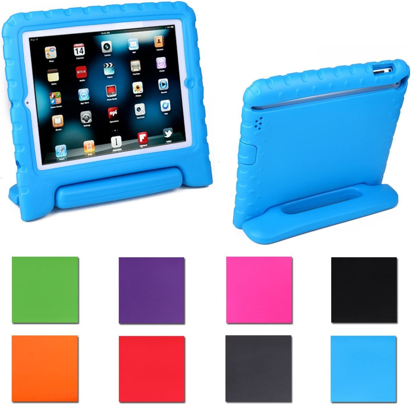 AGRIGLE iPad Mini Case, [Kids Series] Shock Proof Convertible Handle Light Weight Super Protective Stand Cover Case for Apple iPad Mini/Mini 2/Mini 3 (Blue)