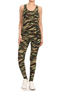 3e0d778db6d0ae Jvini Women's 2 Piece Camouflage Active Stretchy Racerback Tank & Legging  Set