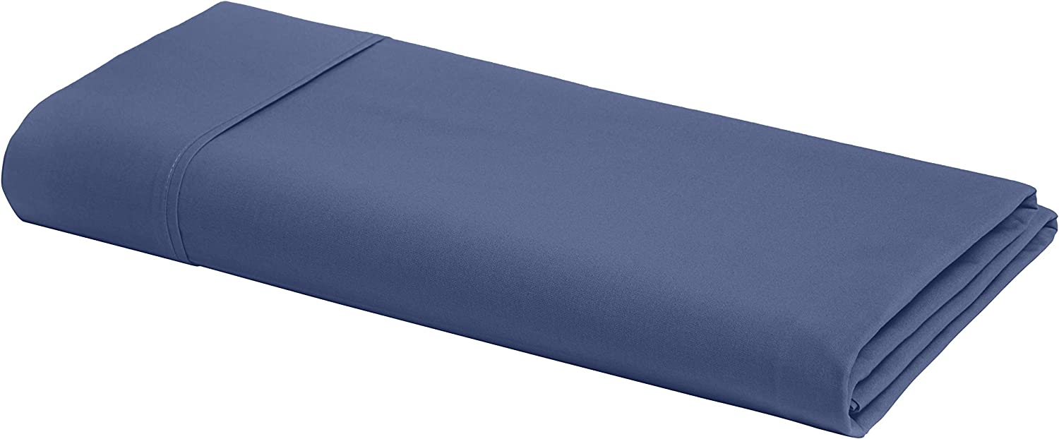 AmazonBasics Ultra-Soft Cotton Flat Bed Sheet, Breathable, Easy to Wash, Twin / Twin XL, Midnight Blue