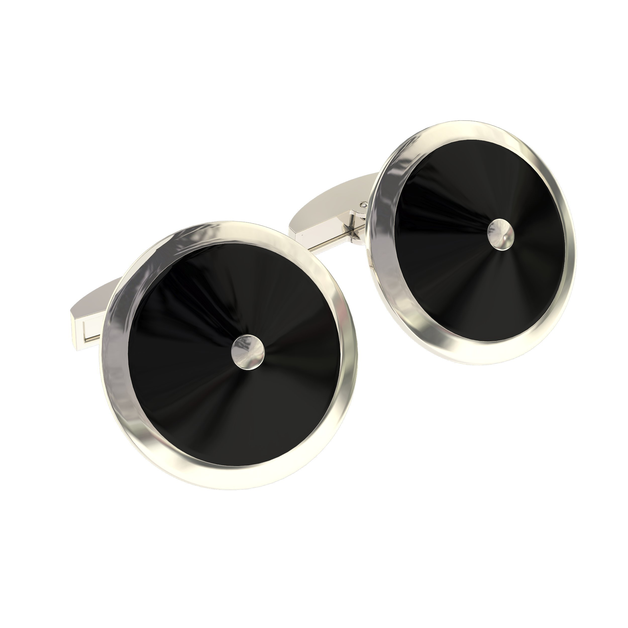 Cuff Link Set - Silver & Black Round for Men with Bonus Steel Collar Stays by Deluxury Fine Accessories (Image #1)