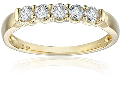 97fd4af12ce Amazon.com  14k Yellow Gold 5-Stone Diamond Anniversary Band (1 2 ...