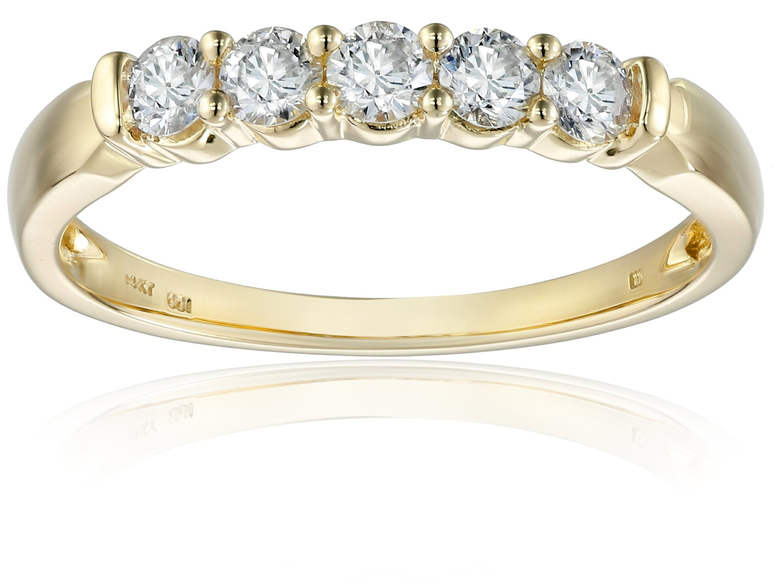 14k Yellow Gold 5-Stone Diamond Anniversary Band (1/2 cttw, H-I Color, I2-I3 Clarity), Size 6