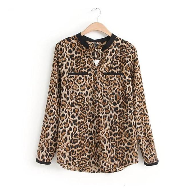 De Camisetas Leopardo Mujer Blazers Gasa Larga Trajes Tops Manga Cinnamou  Impresión Y W4fqqz eb419f8d6329