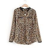 Cinnamou-Mujer Camisetas y Tops Leopardo Impresión, Trajes y Blazers Gasa de Manga Larga Blusas Casuales de Mujer Cuello en V Talla Grande Primavera Desgastar Invierno Base