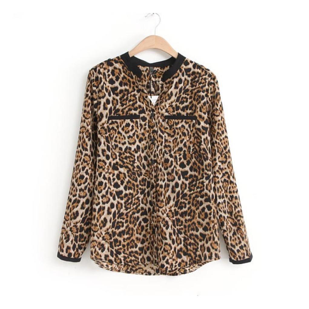 Cinnamou mujeres Camisetas y tops Leopardo Impresión, Trajes y blazers Gasa de manga larga Blusas casuales de mujer Cuello en V Talla grande Primavera Desgastar Invierno Base