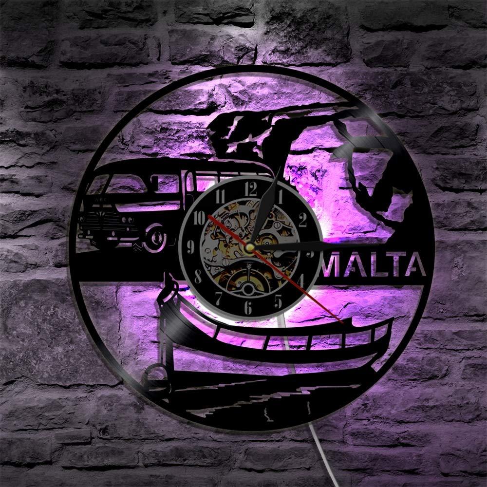 GUDOJK Horloge Murale color/ée en Vinyle 1 Pi/èce Malte Horloge Murale Repubblika ta Malte Paysage Urbain Souvenir Horizon Disque Vinyle Horloge Murale Europ/éenne Voyage Wall Art