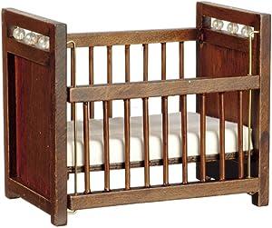 Melody Jane Dollhouse Dark Oak Cot Crib Miniature 1:12 Scale Nursery Baby Furniture