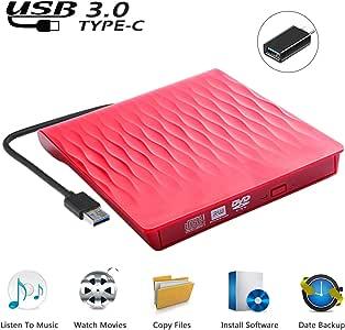 USCVIS Grabadora de Lector CD/DVD Externa USB 3.0 y Tipo C, CD Externo para Portatil, Unidad de CD/DVD/RW/CD ROM Externa Ultra Slim para Win 10/8/7/Linux/Macbook/Desktop: Amazon.es: Electrónica