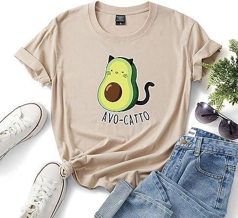 LXHcool Avogato Gato - Camisa Divertida del Aguacate, Alimentación Camisa Amante, Camisa Vegano, Amante del Gato Camiseta (Color : Khaki, Size : XL): Amazon.es: Hogar