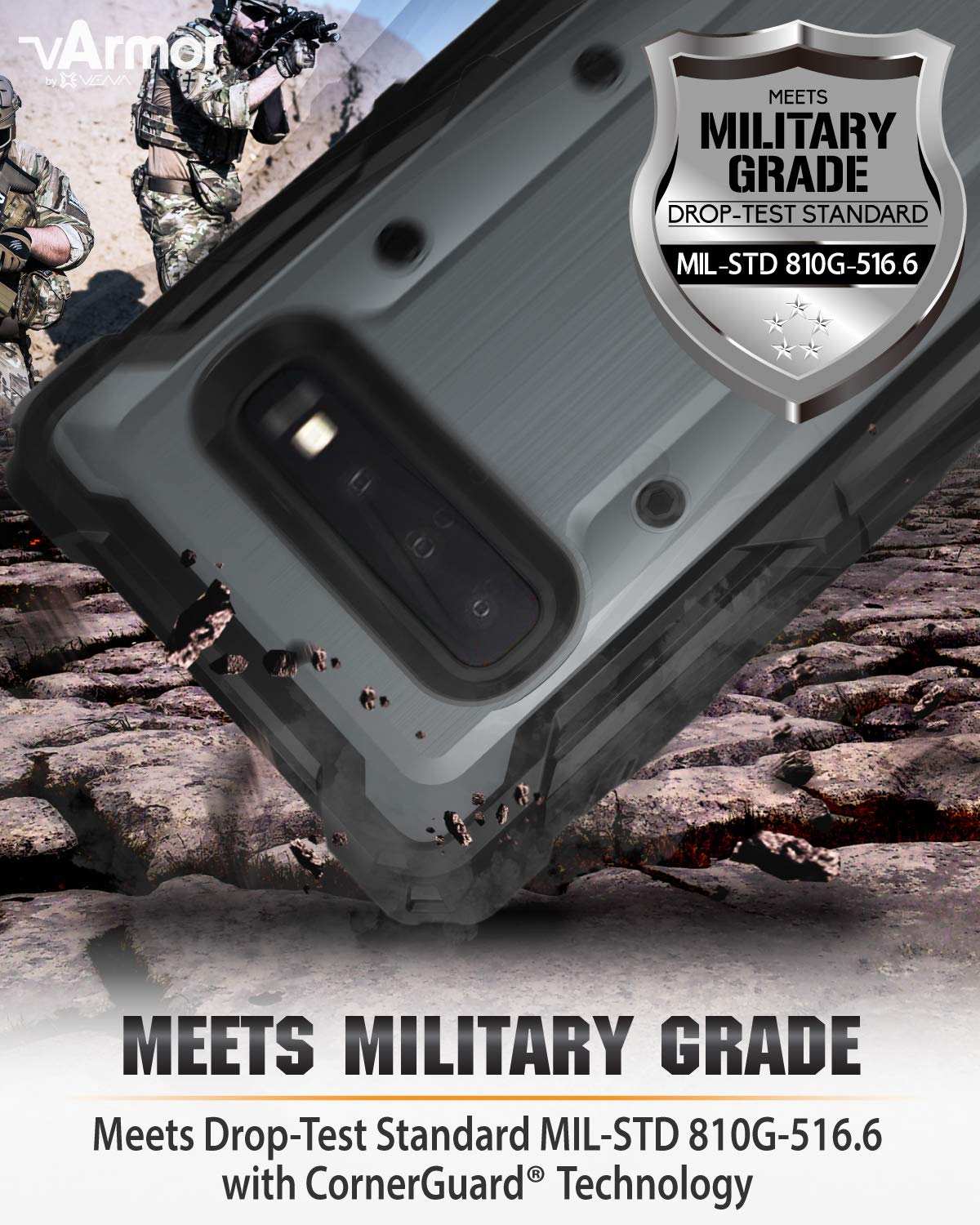 Space Gray//Black Rugged Military Grade Heavy Duty Case with Belt Clip Swivel Holster and Kickstand Plus Vena Holster Case Compatible with Galaxy S10+ vArmor ,