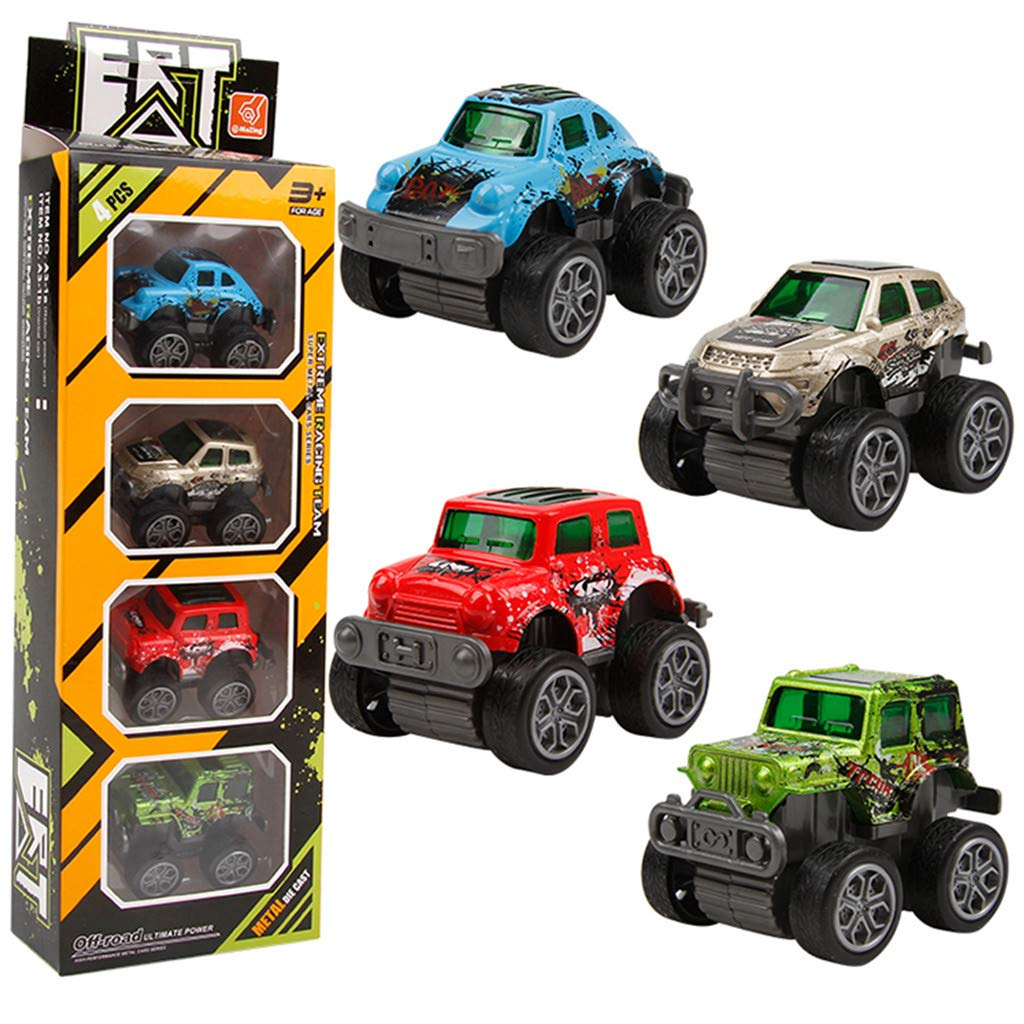 YRRTVV Pull Back Car 4 Pack Assorted Alloy Carton Mini Pull Back Vehicles Party Favors for Children Kids Boys and Girls Pull Back and Go Car Toy Play Set