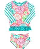 RuffleButts Infant / Toddler Girls Floral Striped Mix-Print Long Sleeve Rash Guard Set w/ Ruffles