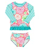 Amazon Price History for:RuffleButts Little Girls Floral Striped Mix-Print Long Sleeve Rash Guard Set w/ Ruffles